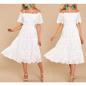 White 100% Cotton Eyelet Off Shoulder Midi Dress
